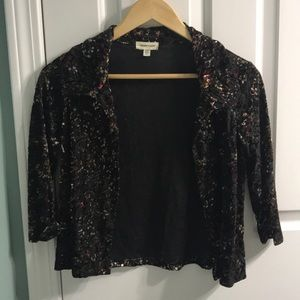 Cardigan with velvet and mesh detail